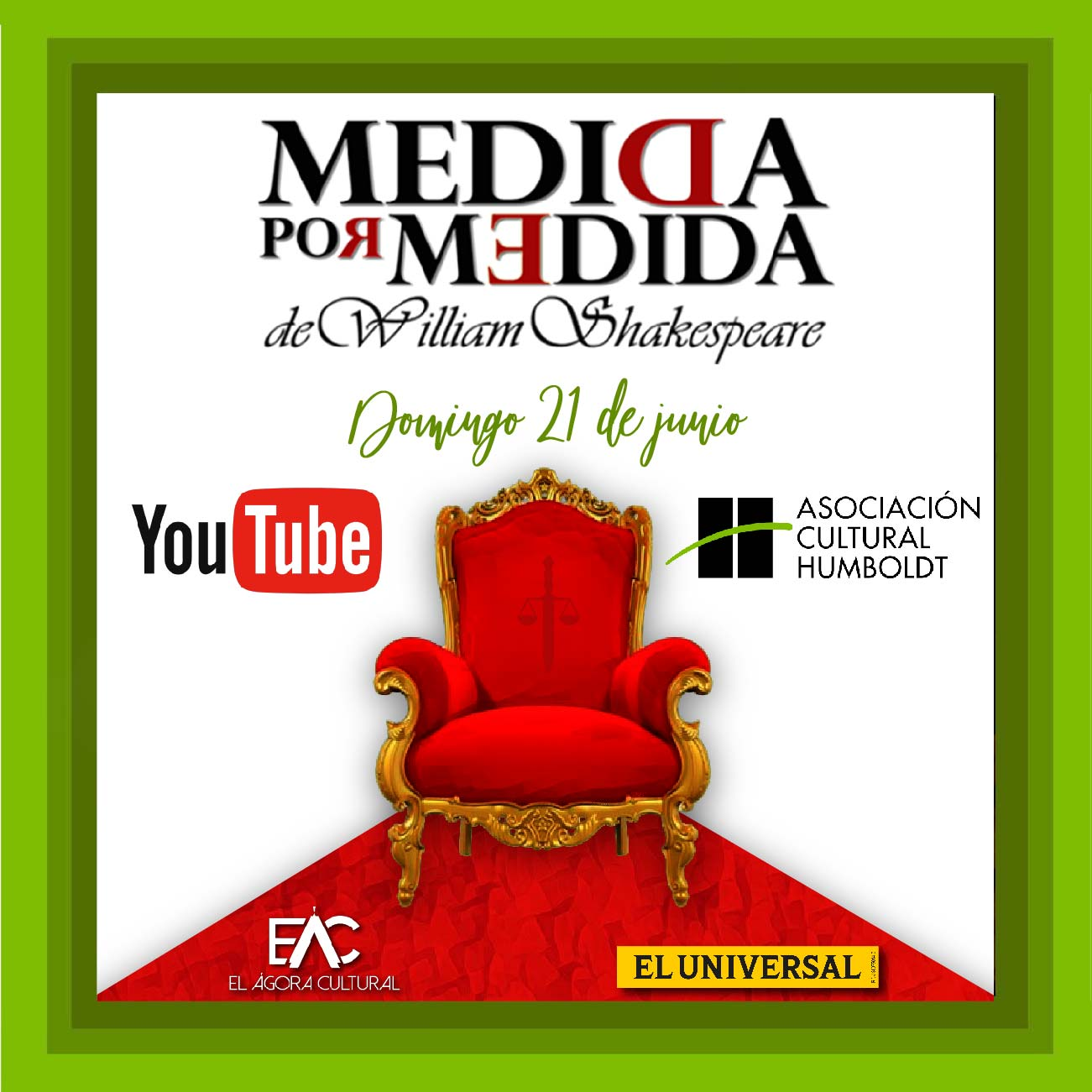 "Continúa la programación de YouTube con la obra germánica de William Shakespeare ""Medida por Medida"""
